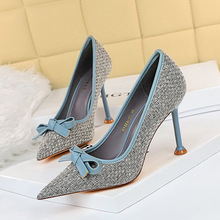 278-17 Korean version of sweet high-heeled shoes with thin thin heels, high heels with shallow mouth and pointed Point Knitting color matching bow single shoes