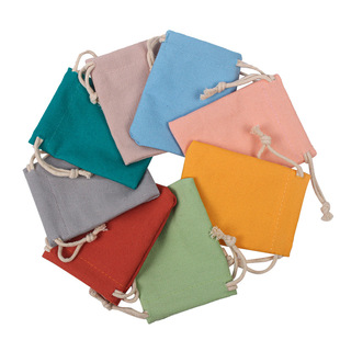 Amazon new macarons color cotton drawstring bag 8 safety cotton can be customized logo jewelry packaging canvas bag