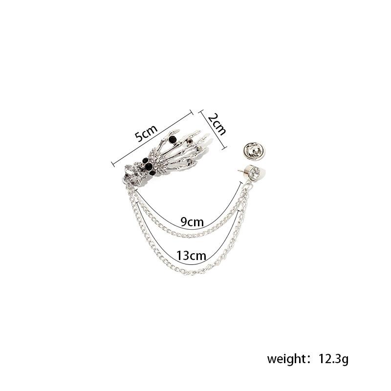 Halloween costume accessories rhinestone skull palm tassel brooch  NHRN247005
