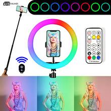RGB直播补光灯炫彩网红环形灯10英寸跑马LED影视氛围渲染明肌灯