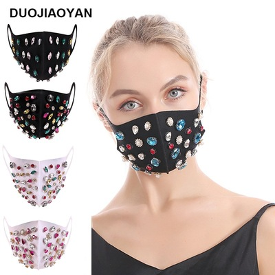 3pcs rhinestones bling Reusable Face Masks dust proof hanging ear cotton Reusable Masks
