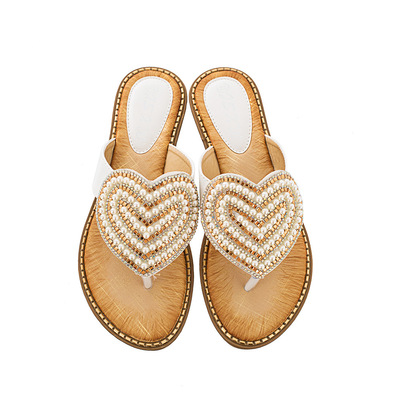 Diamond pearl women shoes love clip toe slippers women Travel Beach Sandals