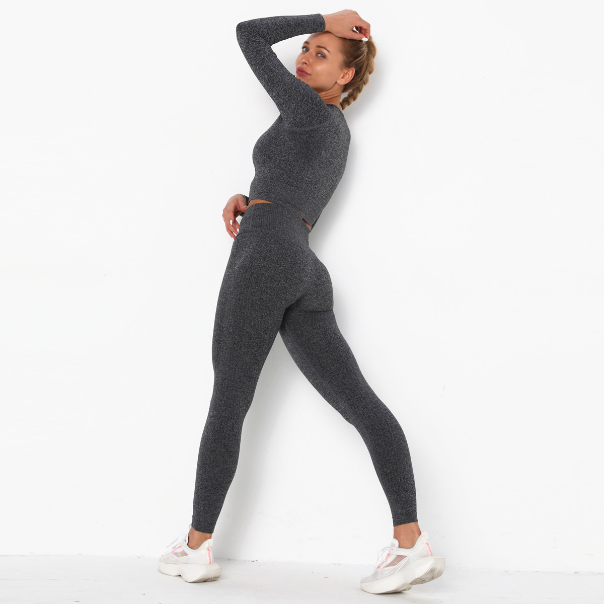 Seamless long-sleeved hip-lifting yoga suit NSNS12250