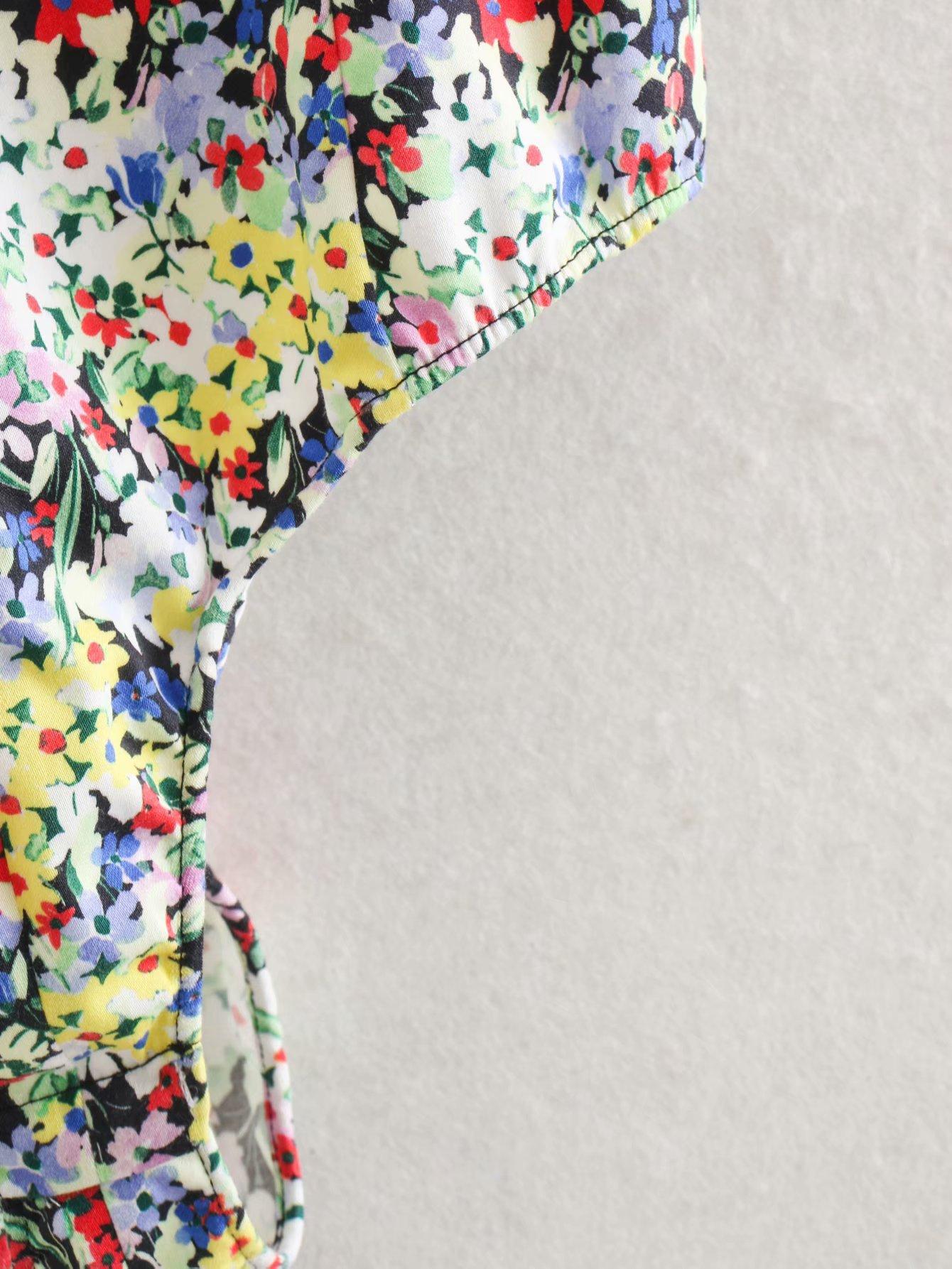 Wholesale New V-neck Puff Short Sleeve Printed Jumpsuit NHAM200149