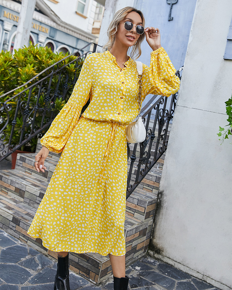 autumn and winter long-sleeved simple printed dress wholesale NSKA284
