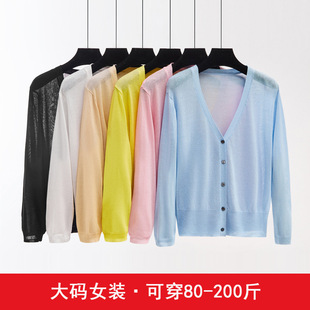 2021 ice silk knitted cardigan women's air-conditioning shirt thin coat fat MM large size sunscreen l7 points sleeve shawl coat women