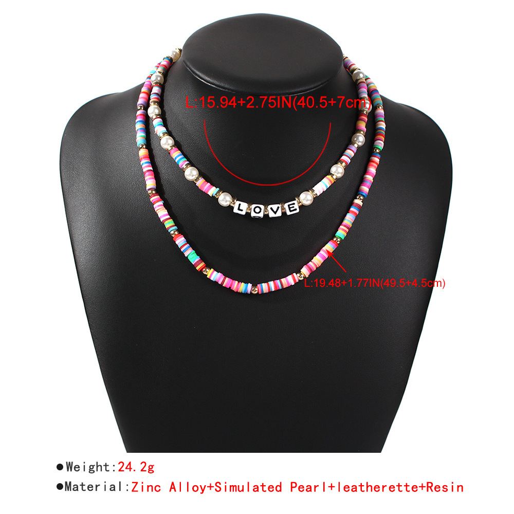 color rice bead necklace jewelry simple double beaded LOVE letter short necklace wholesale nihaojewelry NHMD238166