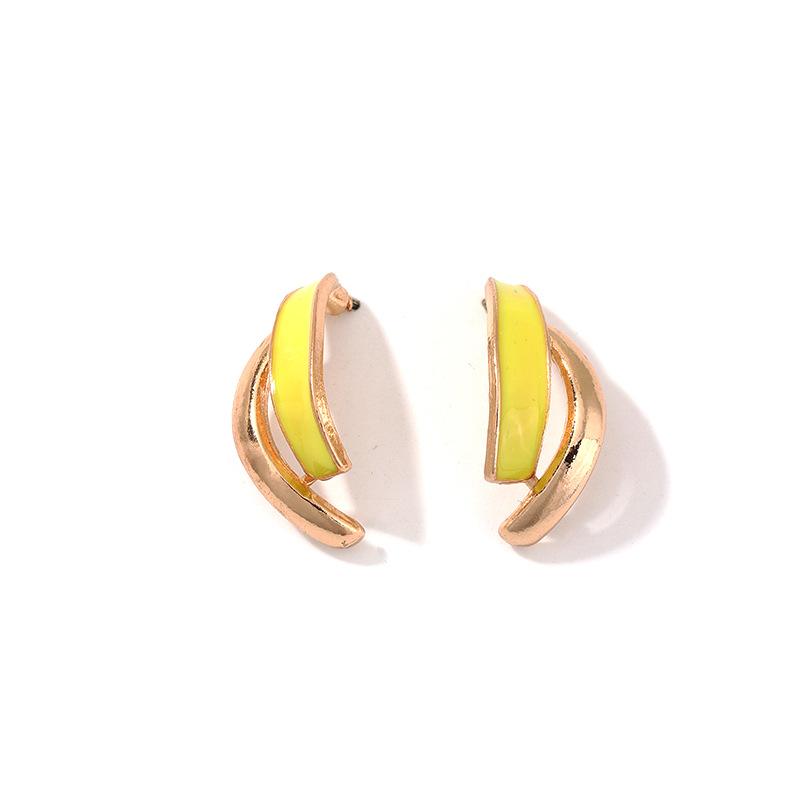 Personalized fashion geometric C-shaped earrings retro alloy drip oil earrings earrings women NHNZ199123