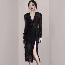 2020秋季新款女装收腰显瘦气质女神范蕾丝高端大牌名媛黑色连衣裙