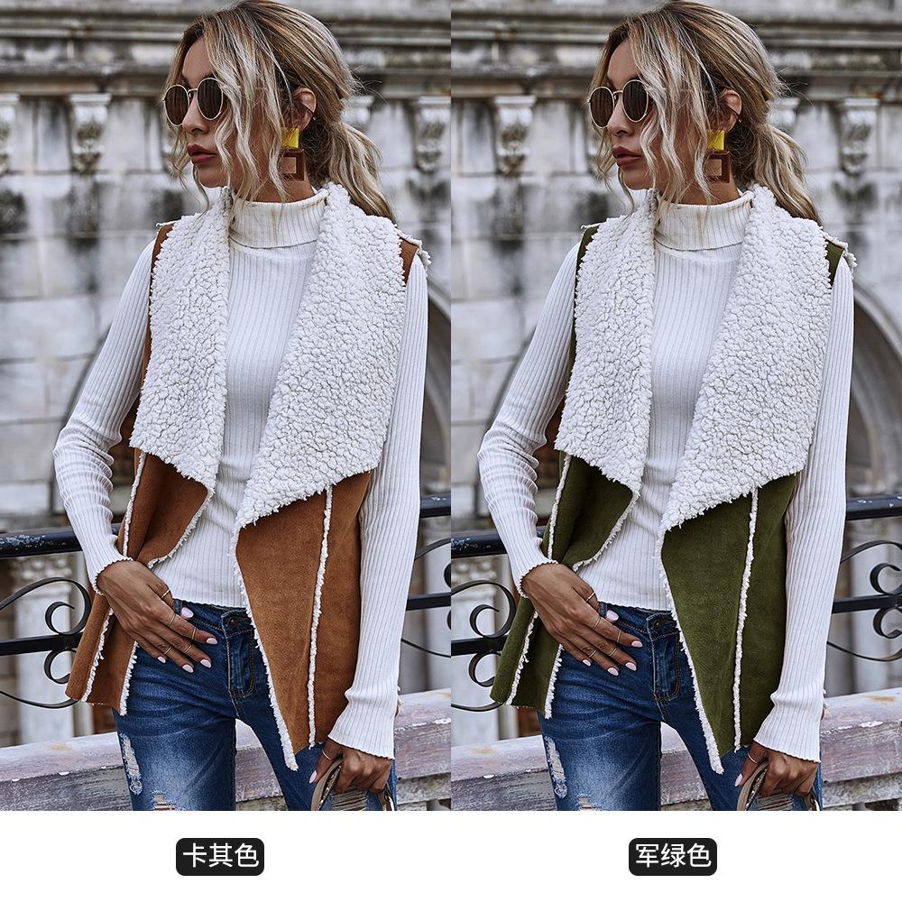 Sleeveless simple two-side wear jacket suede vest women wholesale NHDF5