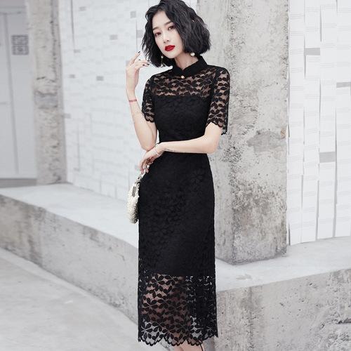 Black lace Chinese dress qipao oriental cheongsam dresses for women elegant temperament modified version dress