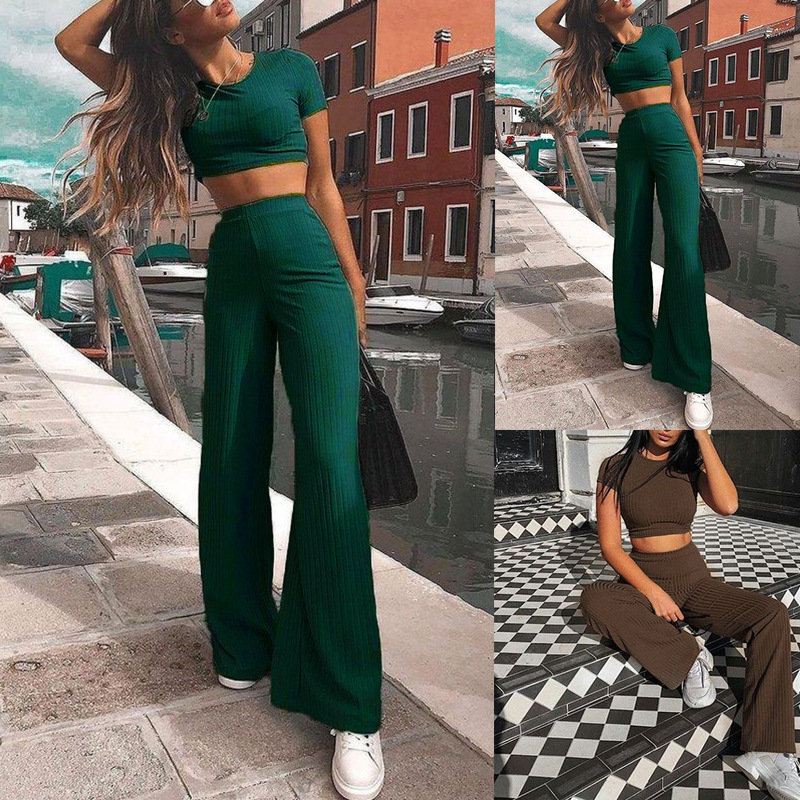 new hot style women's solid color pit strip long sleeve round neck casual suit  NSKX5894