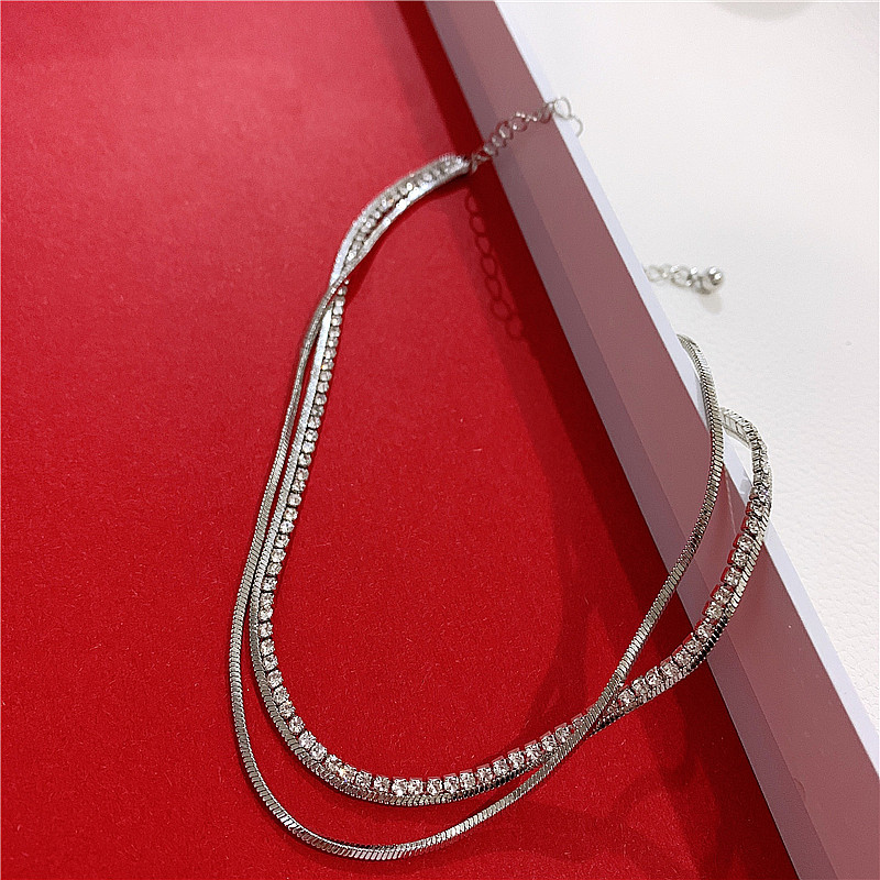 Double snake cartilage diamond clavicle chain female choker simple necklace neck ring NHYQ194561