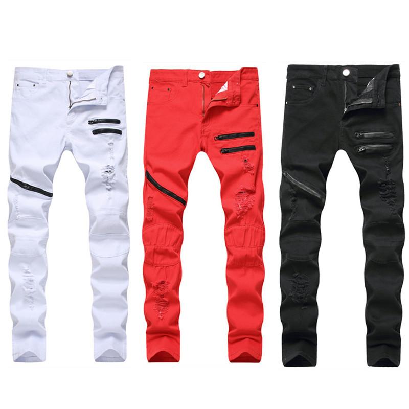 Men'S Zipper Casual Jeans Three Color Broken Hole Zipper Slim Straight Tube Men'S Pants