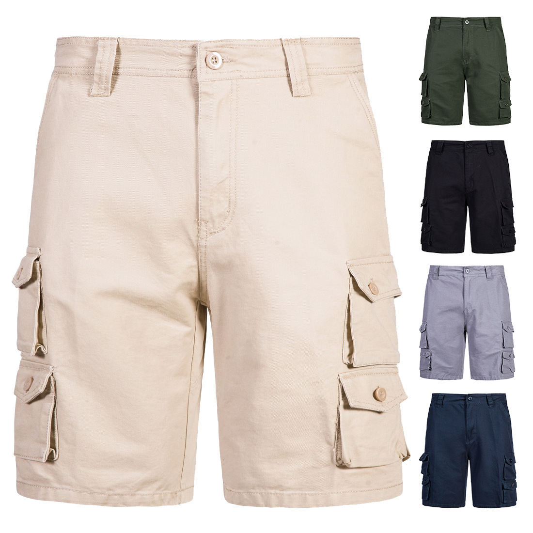 Foreign trade cross-border electricity wish amazon summer new outfits shorts men more pockets straight slacks