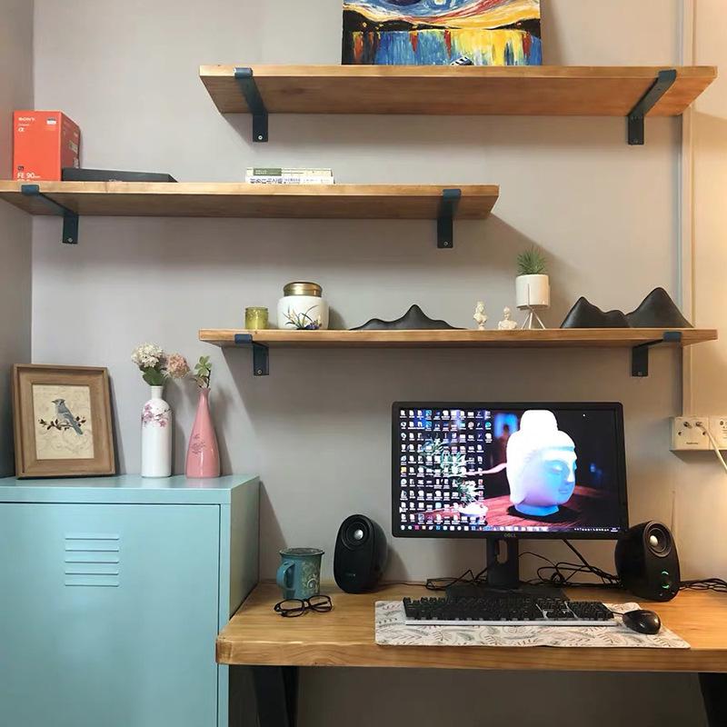 实木一字搁板置物架壁挂式墙上转角拐角厨房层板简易复古墙架书架