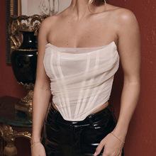 2020春夏款欧美跨境新款女装时尚鱼骨网纱胸衣背心女 短款小上衣