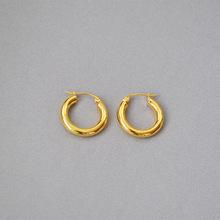 歐美款Celi冷淡金屬風 簡約時尚精致純銅鍍真金小粗耳圈耳環耳飾