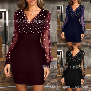 2021 spring new style European and American ladies fashion polka dot mesh stitching long-sleeved V-neck dress