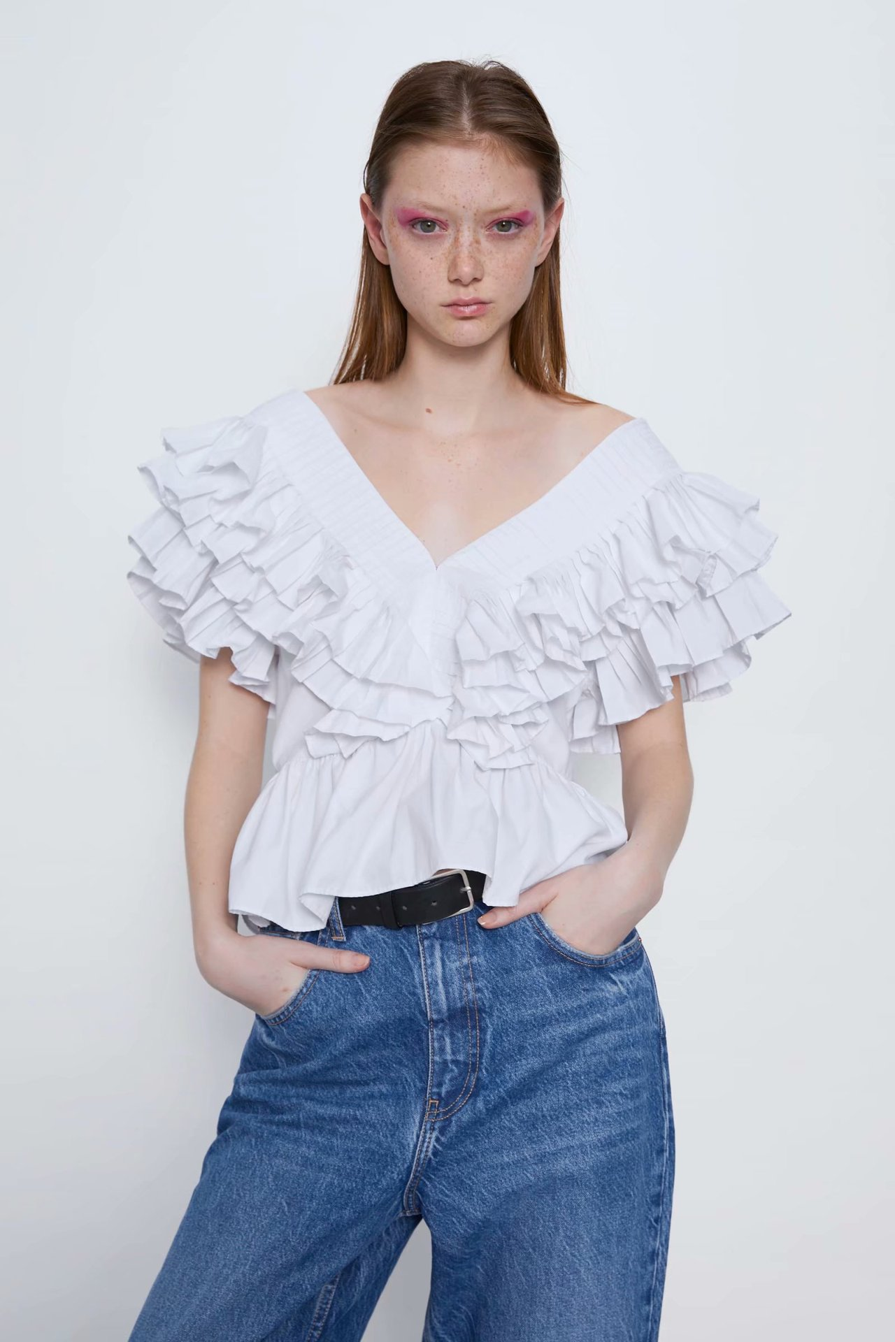 Wholesale spring ruffled poplin women's vest top NHAM209375