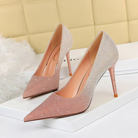 6189-8 European and American wind sexy high-heeled shoes heel party since with shallow mouth pointed color gradient color matching shoes