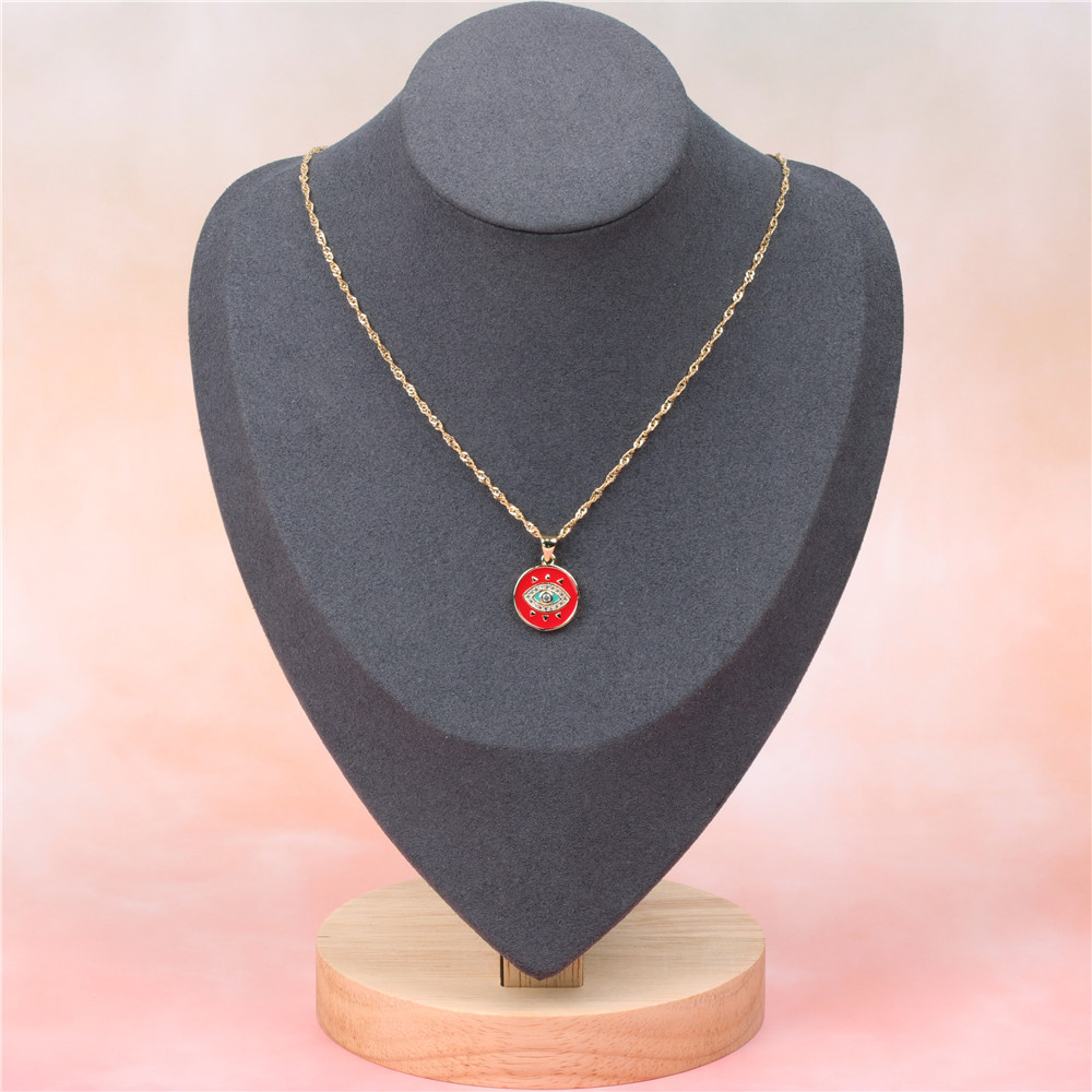 New Accessories Trend Fashion Necklace Eye Love Peach Oil Drop Pendant Short Necklace NHPY200983