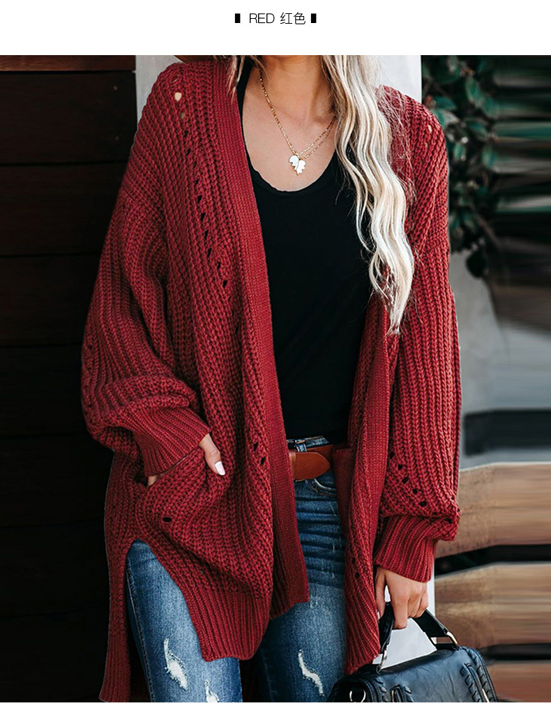 women's autumn and winter new mid-length solid color coat loose sweater coat  NSSI2330