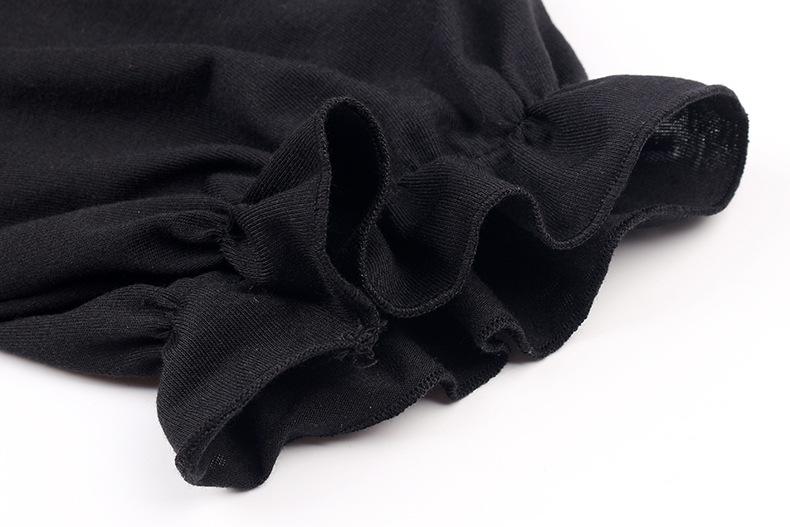 puff sleeve ruffled solid round neck shirt NSKX5982