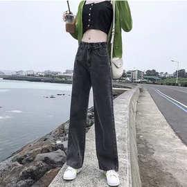 大量现货 2021春季新款阔腿牛仔裤女高腰宽松直筒裤女牛仔老爹裤