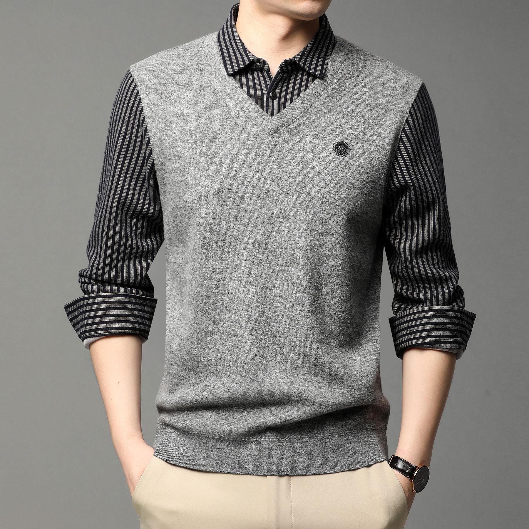 男士毛背心针织衫长袖假两件加绒秋冬季翻领条纹衬衫加毛衣两件套