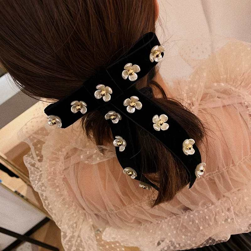 Camellia Velvet Bow Flower Hair Clip Top Clip Sweet Hair Card Girl Hair Accessories NHYQ192585