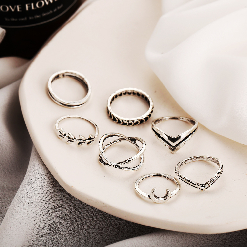 European and American Moon Leaf Cross Ring 7-Piece Retro Simple Jointed Ring Set NHPJ203678