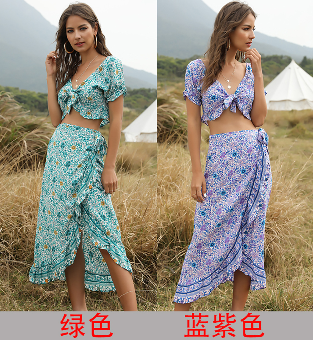 spring and summer new Bohemian women's irregular skirt two-piece top wholesale NSDF421