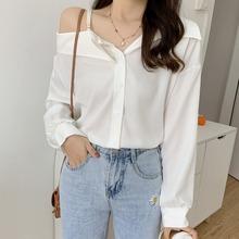 2020秋季韩版不规则性感露肩长袖衬衣女设计感小众宽松衬衫上衣潮