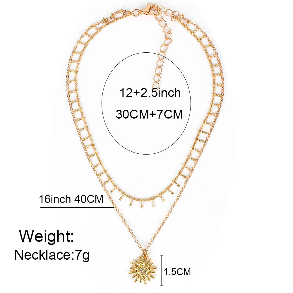 wild simple sun flower pendant jewelry fashion necklace  wholesale nihaojewelry NHCT232094