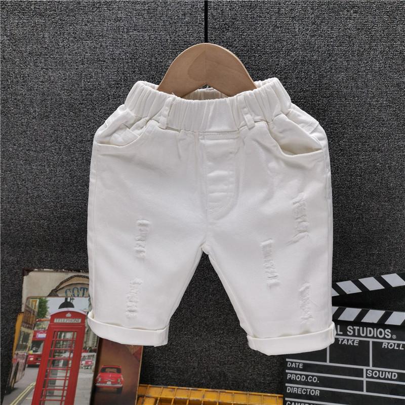 Boys' White Washed Hole Denim Shorts Summer New Baby Capris New Children'S Pants