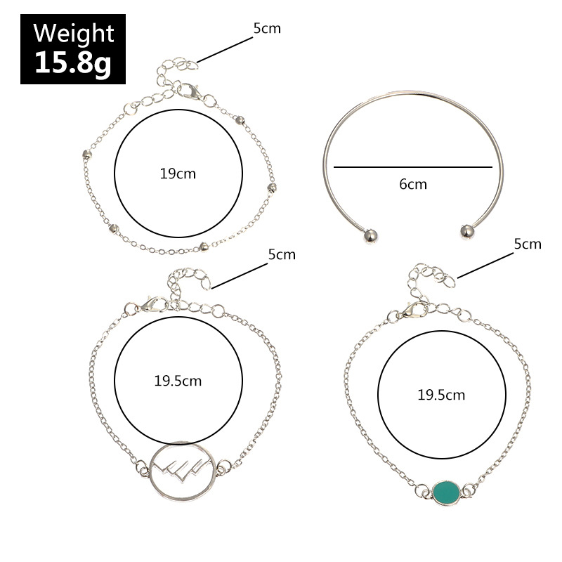 New Fashion Simple Fashion Silver Bracelet Round Bead Bracelet 4 Piece Bracelet for women wholesale NHNZ205183