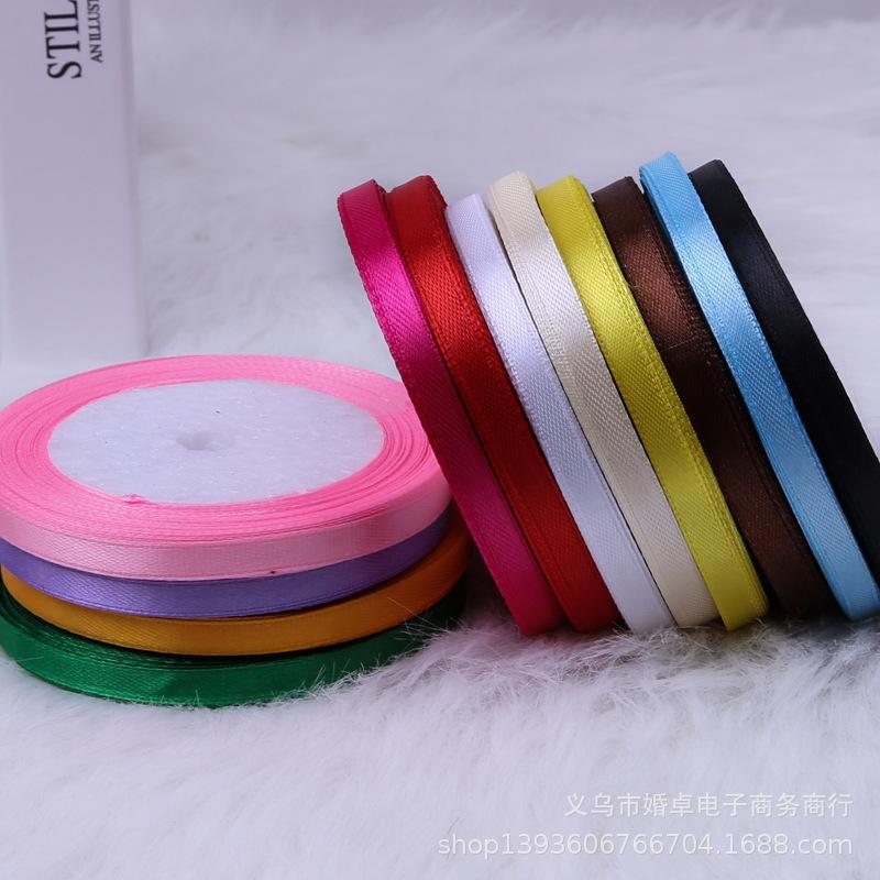 批发礼品包装烘焙装饰绸缎带绦纶材料婚庆彩色丝带6mm10卷一桶价