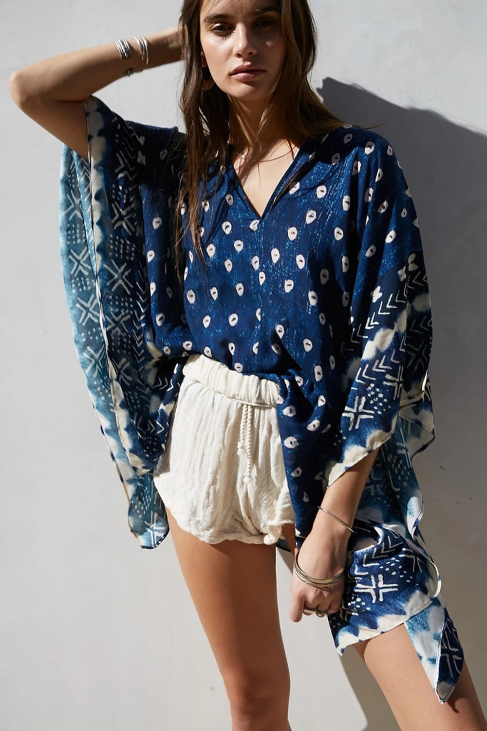Bat Sleeve Long Sleeve Stitching Loose V-neck Top Printed Women s Sun Protection Outer Blouse NSDF1514