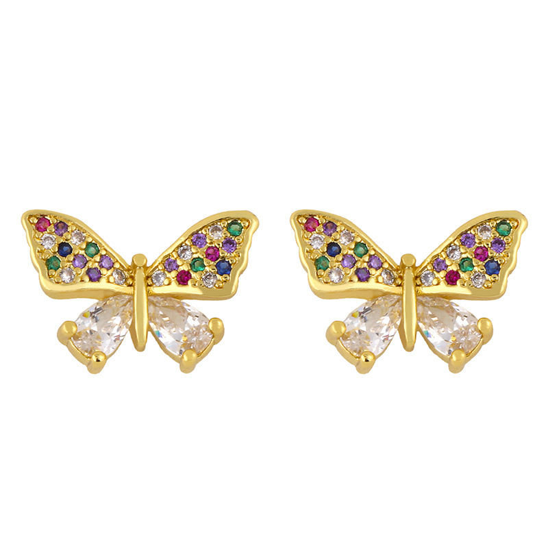 Hot selling fashion bow love heart inlaid zircon earrings wholesale NHAS259513
