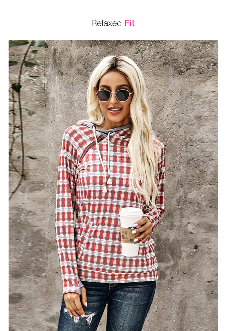autumn and winter new style double-layer hooded diagonal zipper pullover colorful plaid top women sweater  NSSI2388