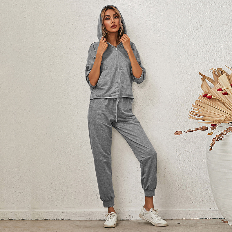 autumn and winter solid color long-sleeved trousers hooded casual suit NSKX8438