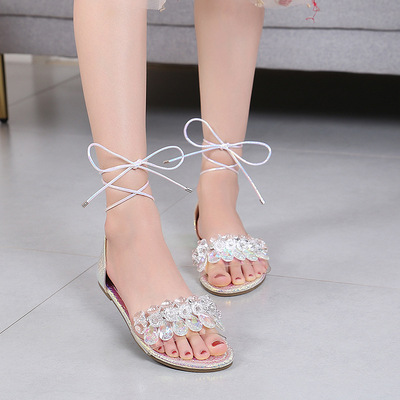 Charm sandals Bohemian color bead flat sandals personalized bowknot strap bag sandals