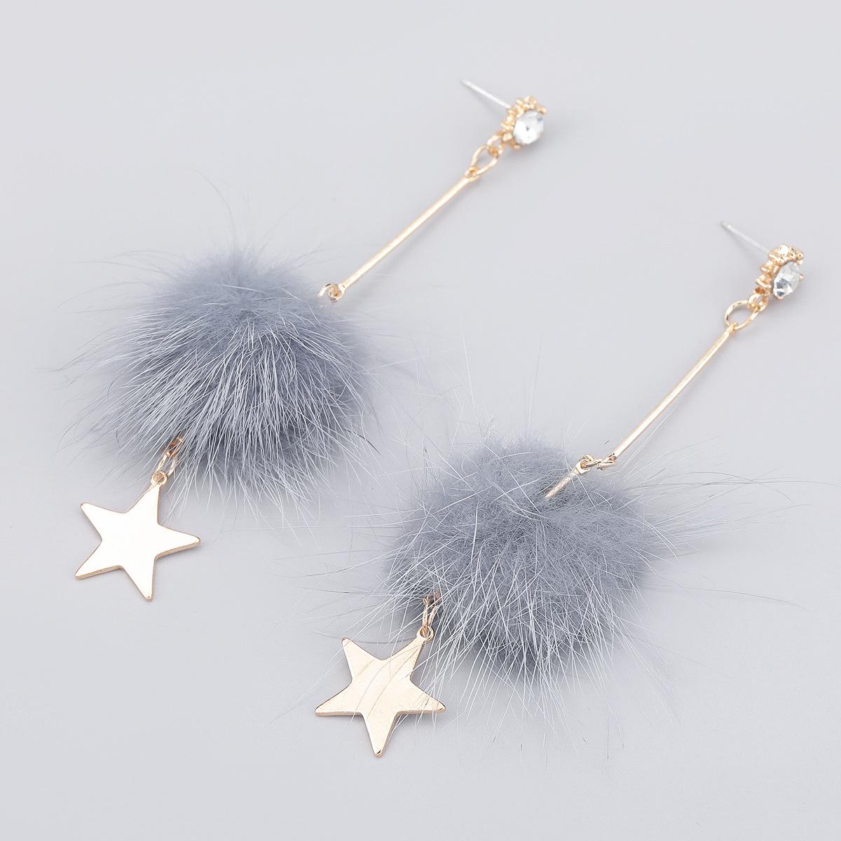 alloy diamondstudded wool ball star earrings  NHJE286078
