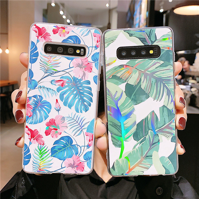 Laser flower banana leaf phone case for Samsung S20 S9plus all-inclusive Note10 s10e A70 soft phone case NHFI237425