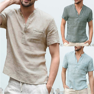 Summer new hot-selling cotton and linen short-sleeved men's T-shirt with stand-up collar buttoned half-opening simple short-sleeved shirt