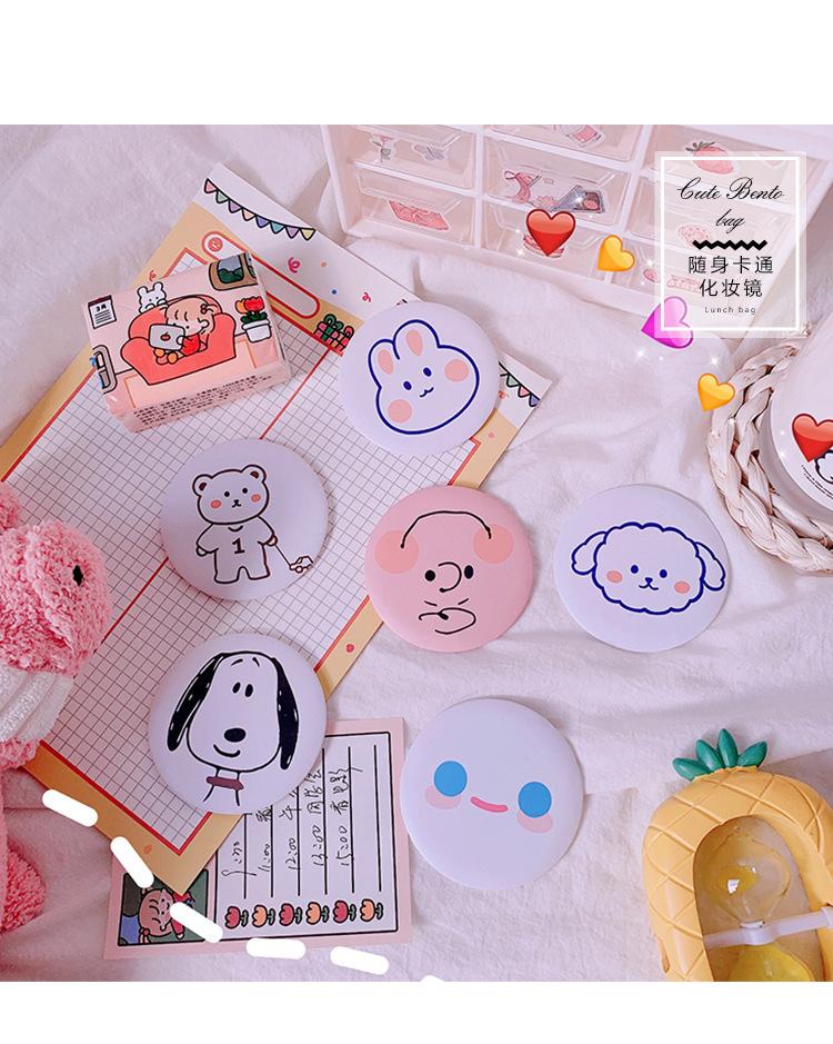Korean cute mini portable mirror girl heart makeup mirror student creative portable small round mirror vanity mirror wholesale nihaojewelry NHZE220577