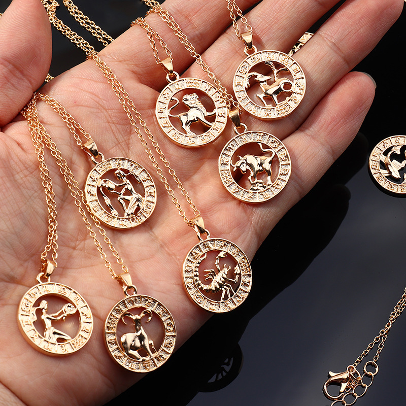 Fashion twelve constellation necklace for men and women symbol gift clavicle chain NHNZ263167