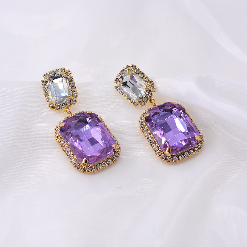 Super simple rhinestone earrings for women NHNT204567