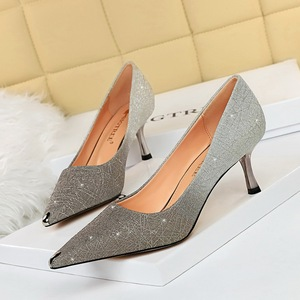 6826-A9 euramerican fashion sexy party shoes high heel with shallow mouth shining sequins metal point single shoes